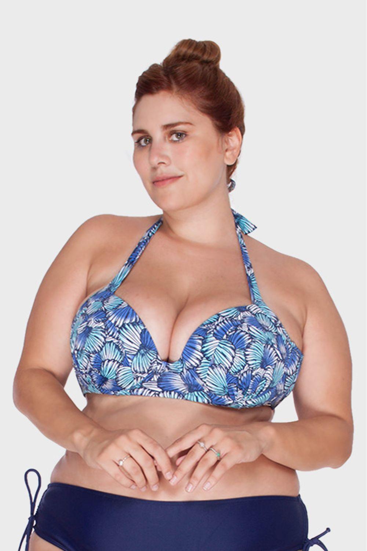 Top com Bojo Estampa Conchas Plus Size - Azul-52