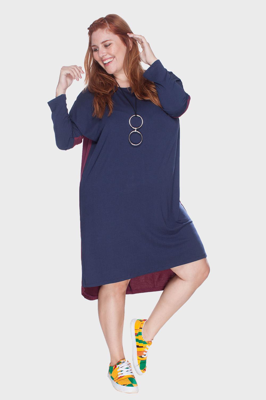691406fb0e9a Vestido Mullet Plus Size - Marinho-46/48