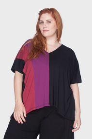746c40833e t1 · t2 · Blusa Recortes Tricolor Plus Size