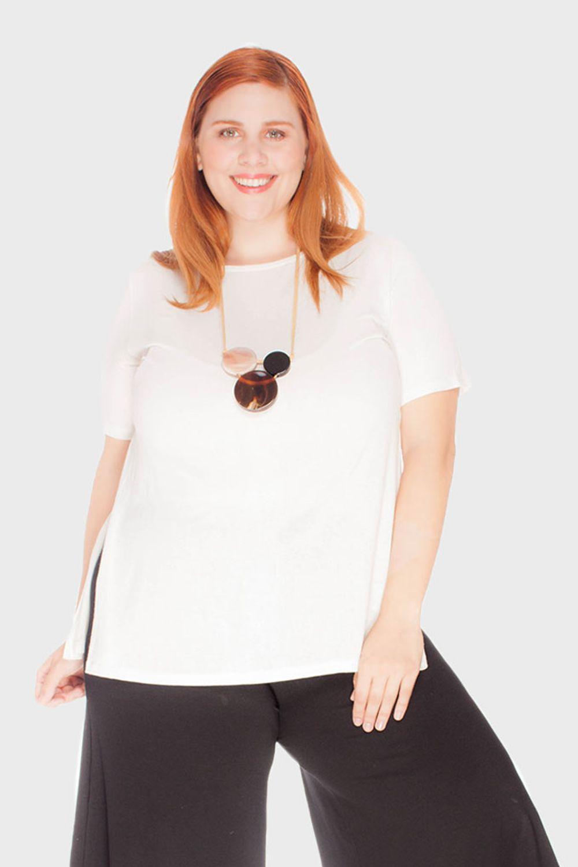 Blusa Fenda Lateral Tecido Ultra Leve Plus Size