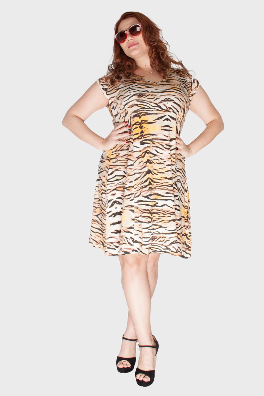 Vestido Malha Tigre Plus Size