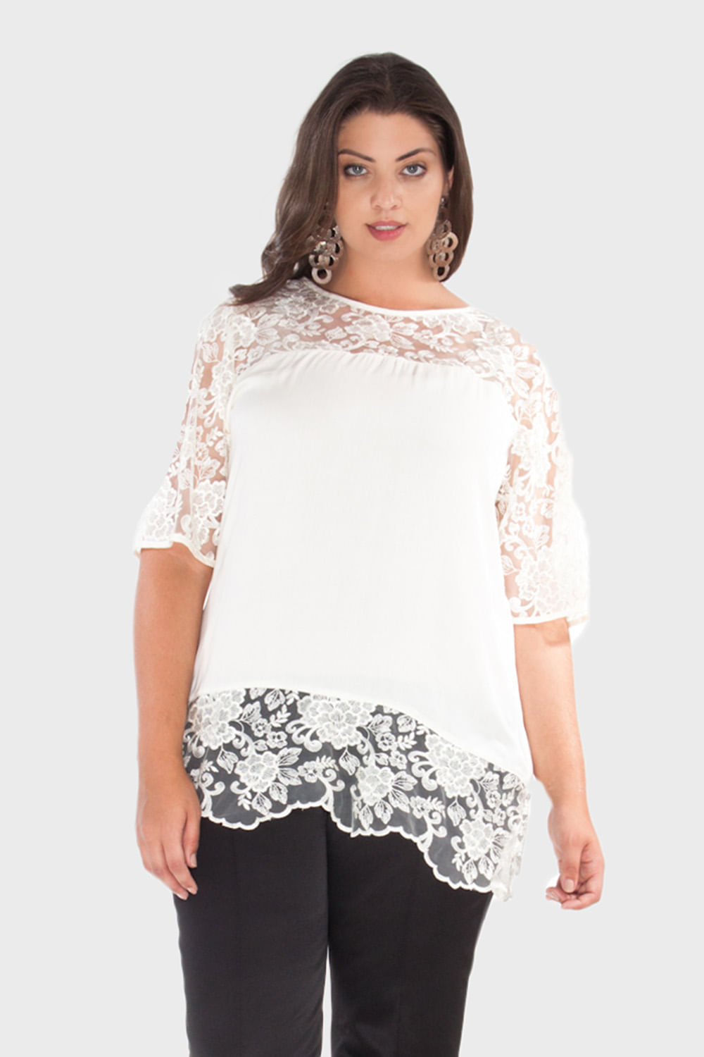 Blusa Viscose Renda Plus Size