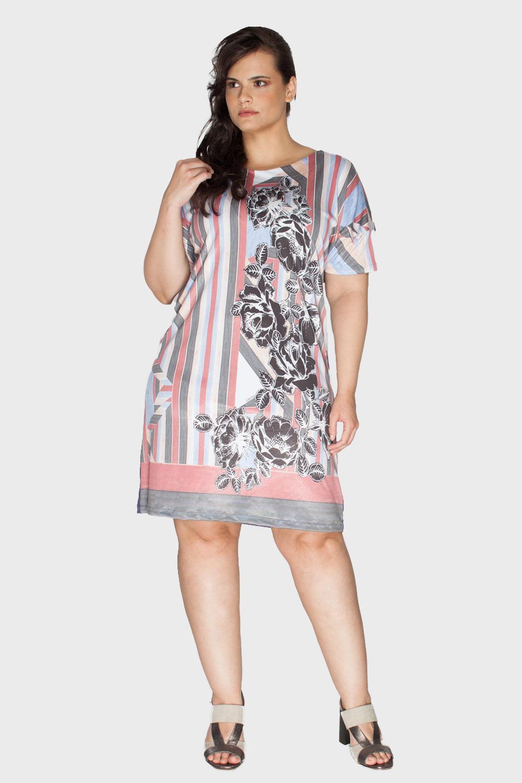 15239e205 Vestido Plano e Malha Plus Size - Flaminga