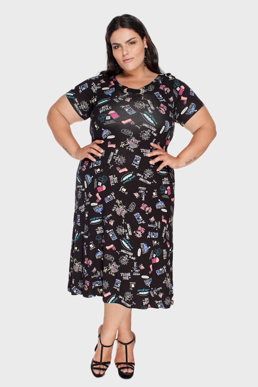 440e081911fea9 Vestido Estampado Decote Ilhós Plus Size