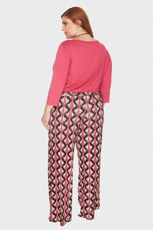 Calça Plus Size Pantalona Estampada - Flaminga bba333573f6