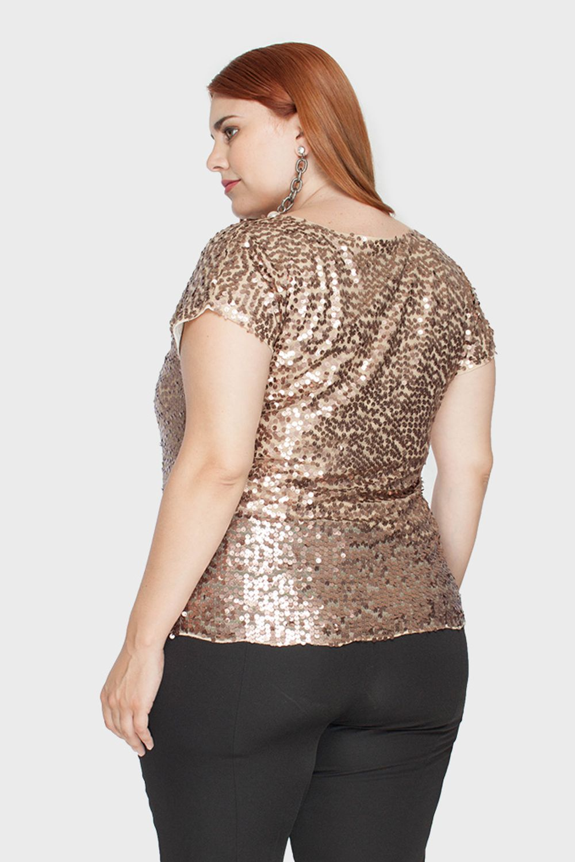 Blusa Plus Size Safari Paetê - Flaminga 85ad155164d15
