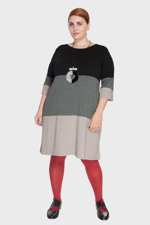 Vestido-Tricolor-Manga-3-4-Plus-Size_T1