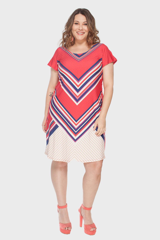 Vestido Plus Size Triângulos - Flaminga 9debdf1fb79