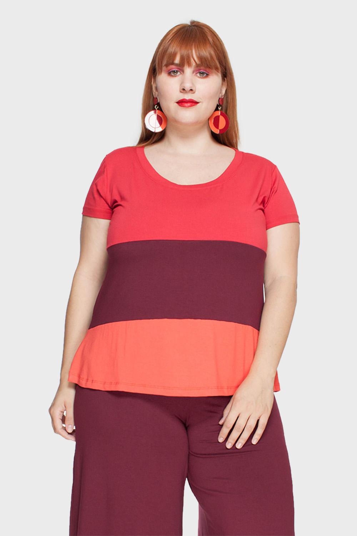 d3a46c30be8ba Camiseta Plus Size Tricolor Gola Redonda - Flaminga